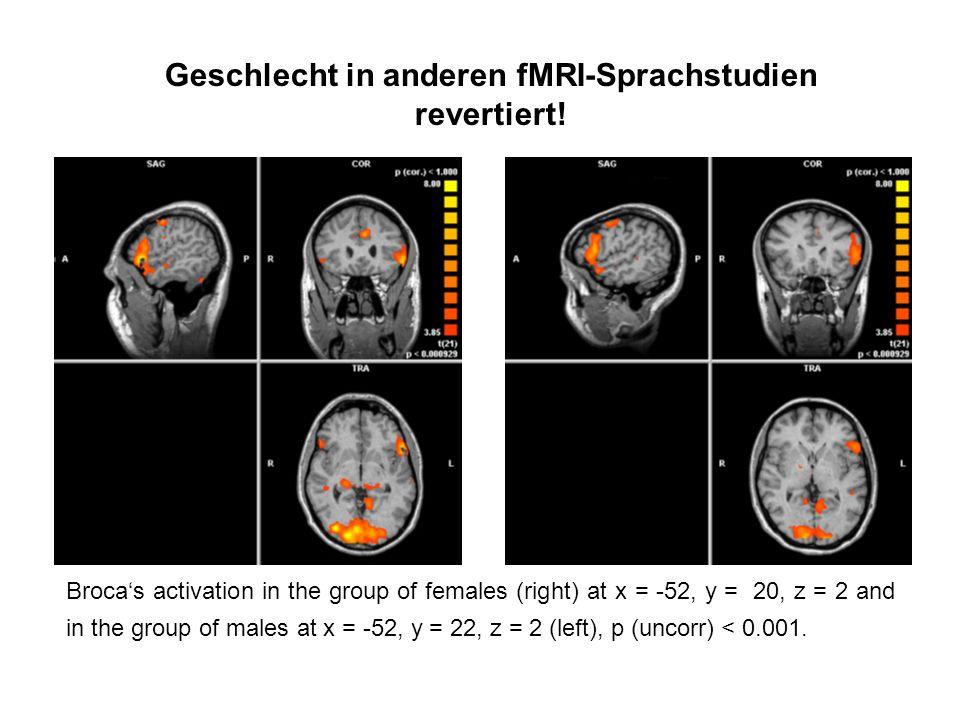 Geschlecht in anderen fMRI-Sprachstudien revertiert!