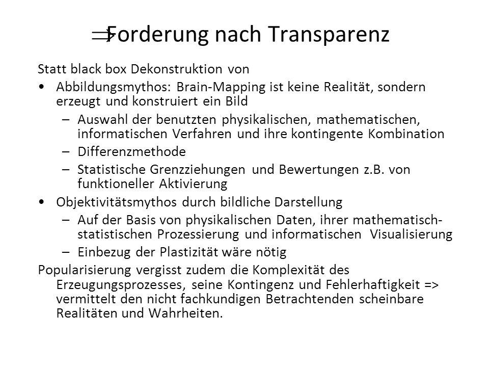 Forderung nach Transparenz