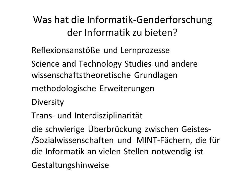 Was hat die Informatik-Genderforschung der Informatik zu bieten