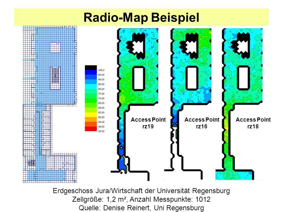 Radio-Map Beispiel Access Point. rz19. Access Point. rz16. Access Point. rz18. Erdgeschoss Jura/Wirtschaft der Universität Regensburg.