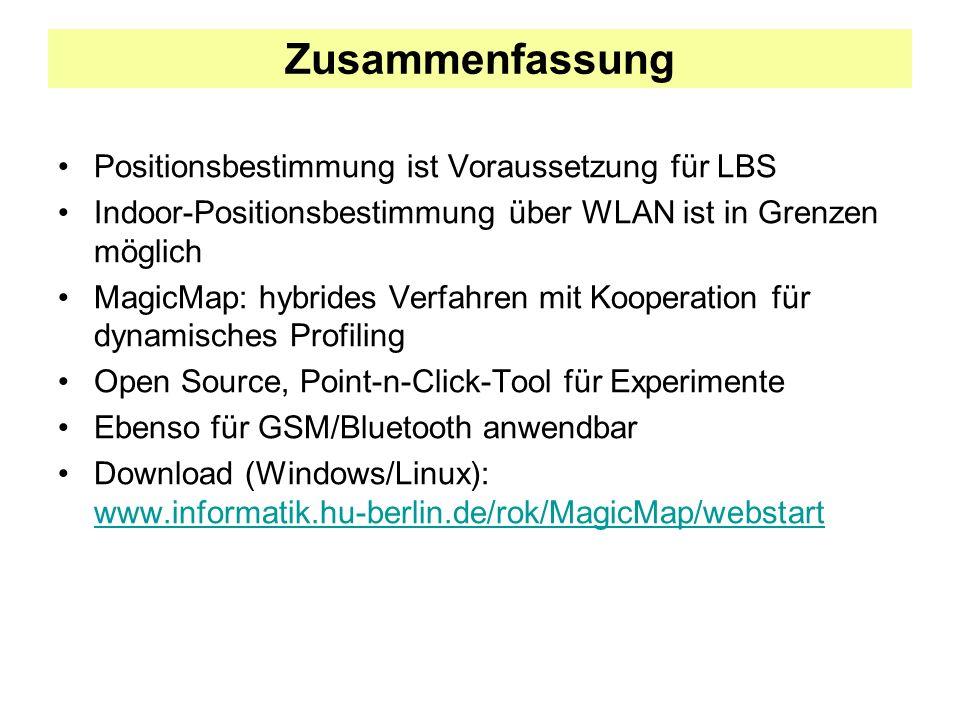 Zusammenfassung Positionsbestimmung ist Voraussetzung für LBS