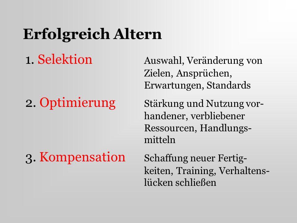 Erfolgreich Altern 1. Selektion Auswahl, Veränderung von Zielen, Ansprüchen, Erwartungen, Standards.