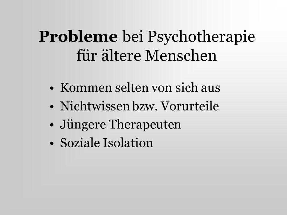 Probleme bei Psychotherapie für ältere Menschen