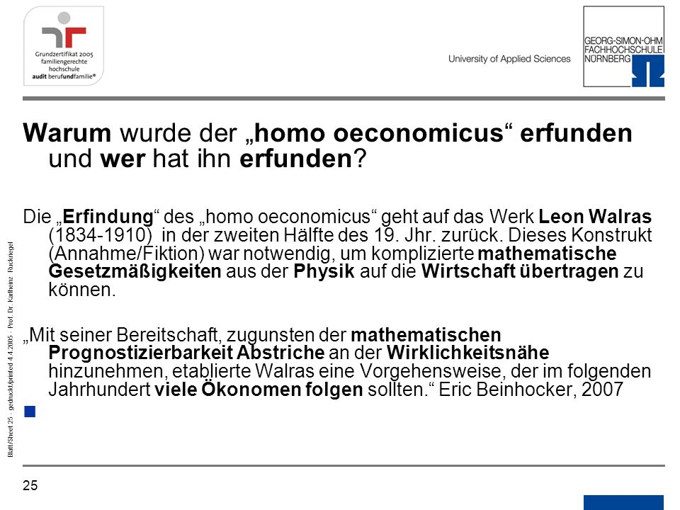 """Warum wurde der """"homo oeconomicus erfunden und wer hat ihn erfunden"""