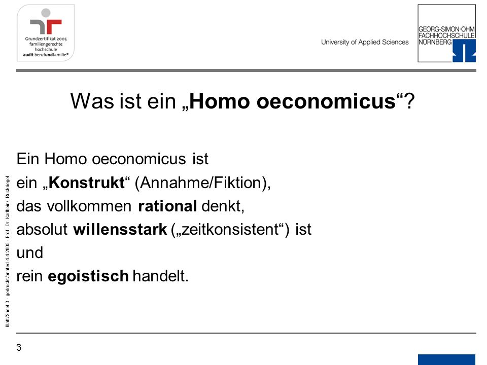 """Was ist ein """"Homo oeconomicus"""