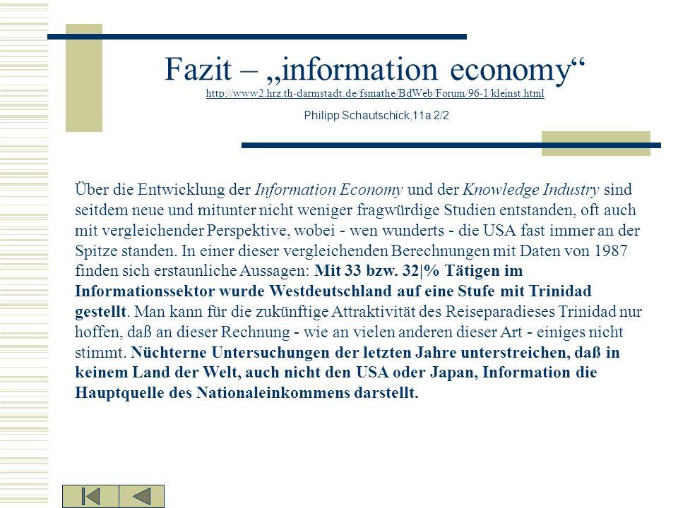 """Fazit – """"information economy http://www2. hrz. th-darmstadt"""