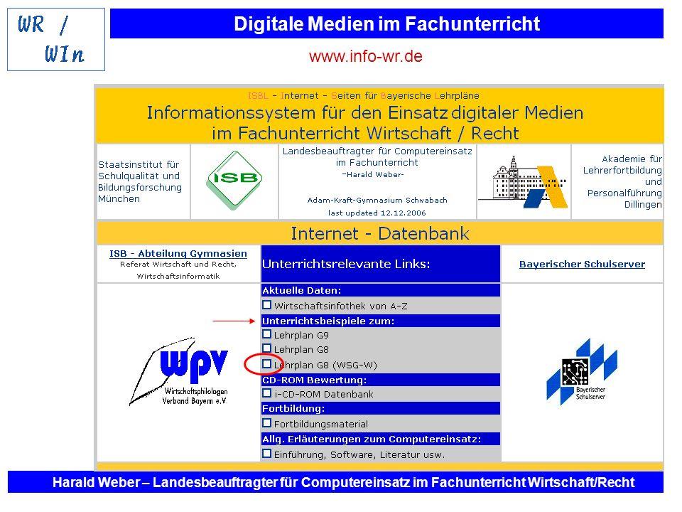 www.info-wr.deHarald Weber – Landesbeauftragter für Computereinsatz im Fachunterricht Wirtschaft/Recht.
