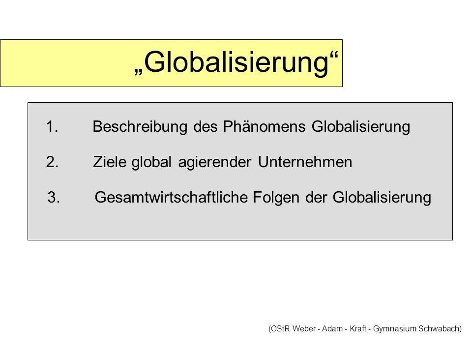 """""""Globalisierung 1. Beschreibung des Phänomens Globalisierung"""