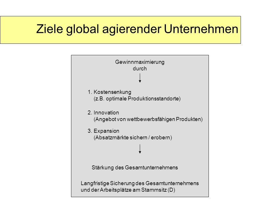 Ziele global agierender Unternehmen