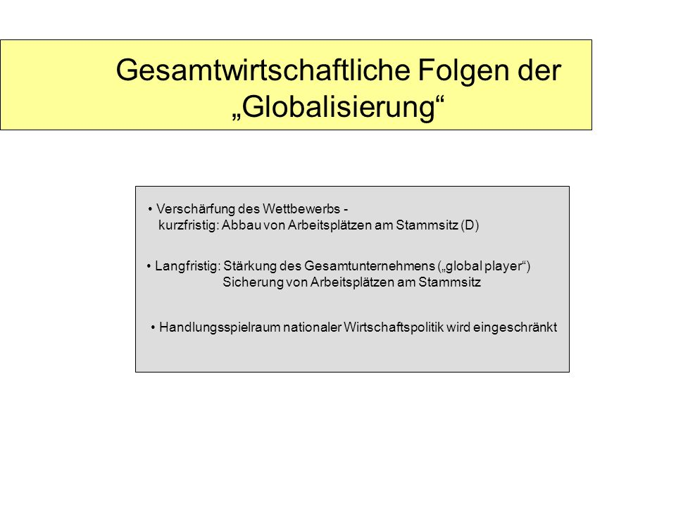 """Gesamtwirtschaftliche Folgen der """"Globalisierung"""