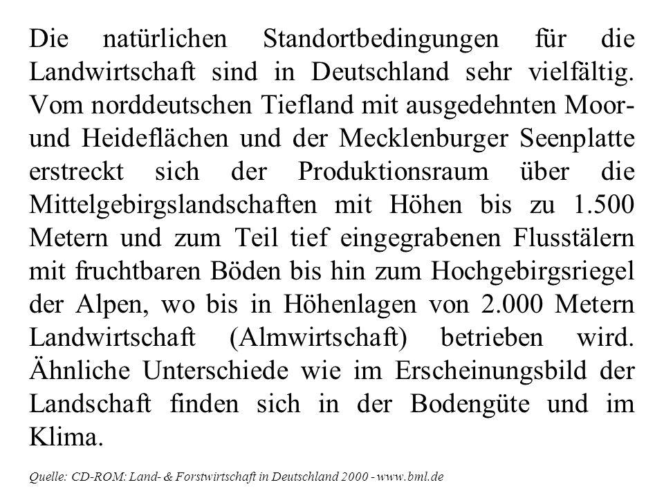 Die natürlichen Standortbedingungen für die Landwirtschaft sind in Deutschland sehr vielfältig. Vom norddeutschen Tiefland mit ausgedehnten Moor- und Heideflächen und der Mecklenburger Seenplatte erstreckt sich der Produktionsraum über die Mittelgebirgslandschaften mit Höhen bis zu 1.500 Metern und zum Teil tief eingegrabenen Flusstälern mit fruchtbaren Böden bis hin zum Hochgebirgsriegel der Alpen, wo bis in Höhenlagen von 2.000 Metern Landwirtschaft (Almwirtschaft) betrieben wird. Ähnliche Unterschiede wie im Erscheinungsbild der Landschaft finden sich in der Bodengüte und im Klima.