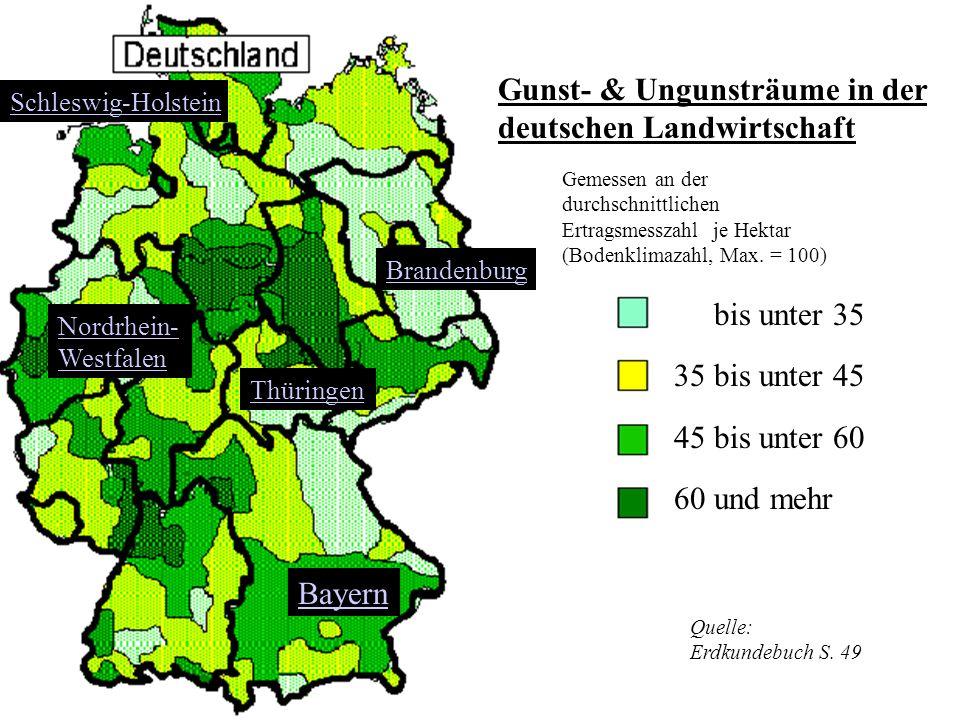Gunst- & Ungunsträume in der deutschen Landwirtschaft