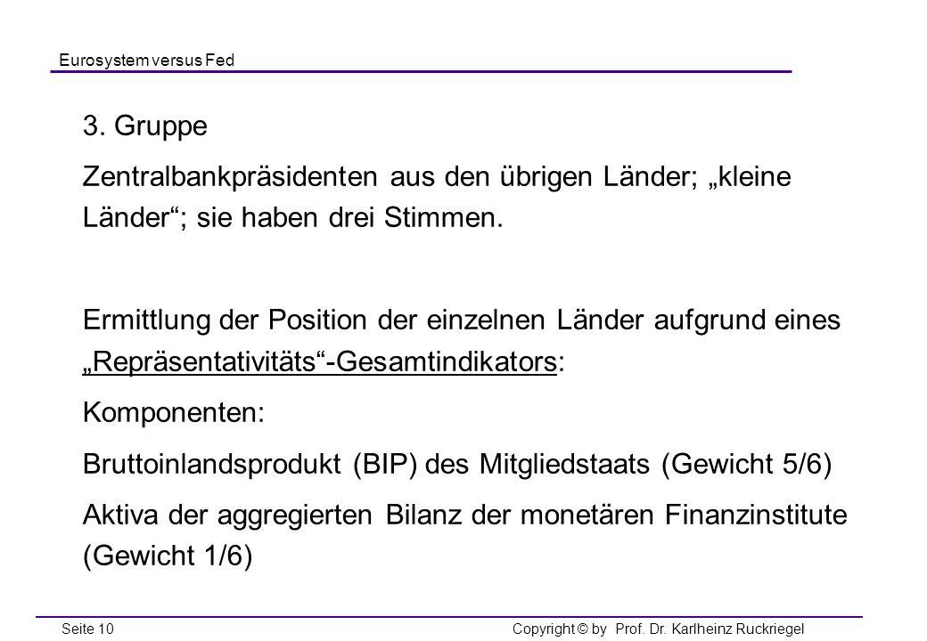 """3. Gruppe Zentralbankpräsidenten aus den übrigen Länder; """"kleine Länder ; sie haben drei Stimmen."""