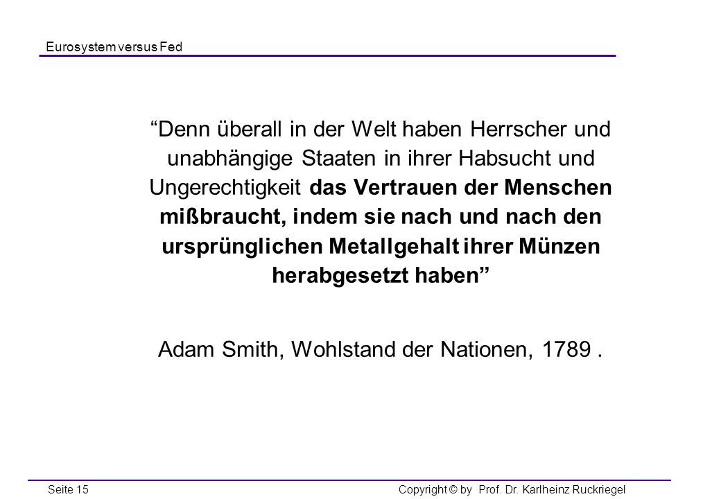 Adam Smith, Wohlstand der Nationen,