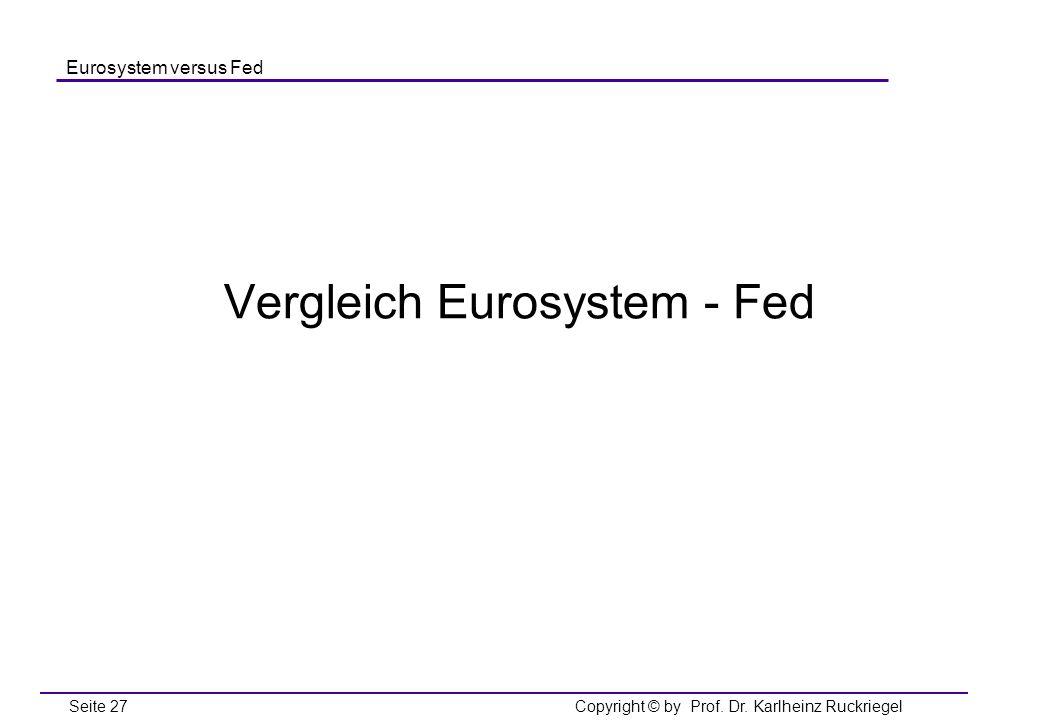 Vergleich Eurosystem - Fed