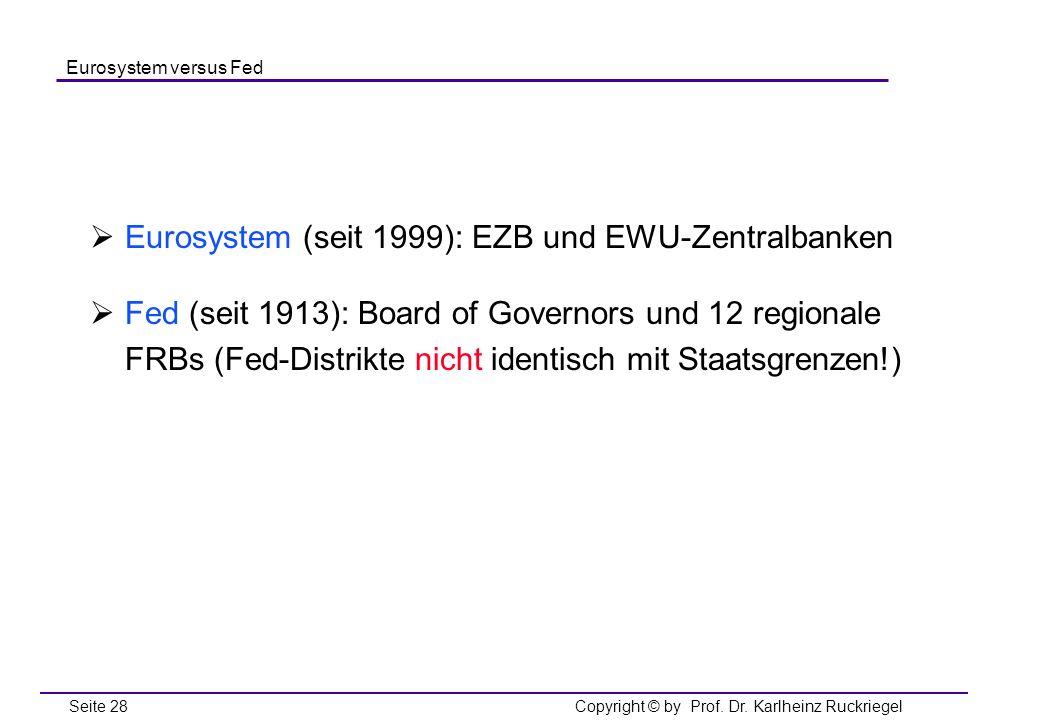 Eurosystem (seit 1999): EZB und EWU-Zentralbanken