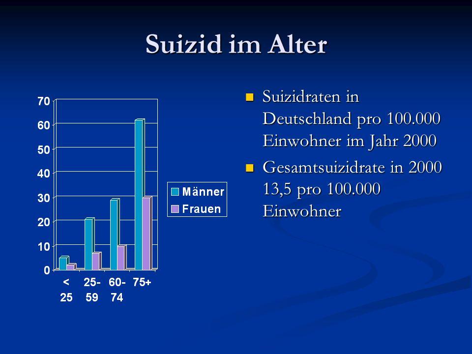 Suizid im Alter Suizidraten in Deutschland pro 100.000 Einwohner im Jahr 2000.