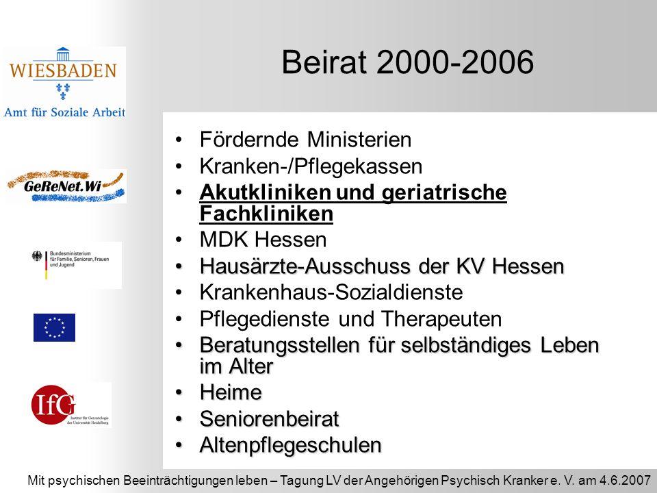 Beirat 2000-2006 Fördernde Ministerien Kranken-/Pflegekassen