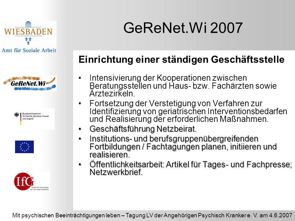 GeReNet.Wi 2007 Einrichtung einer ständigen Geschäftsstelle