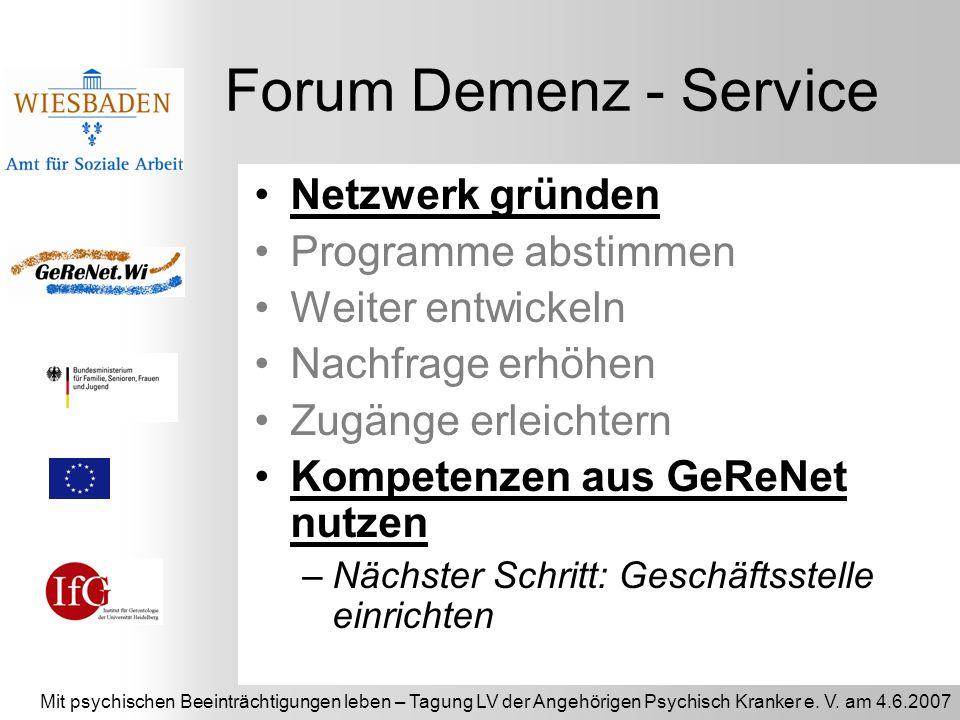 Forum Demenz - Service Netzwerk gründen Programme abstimmen