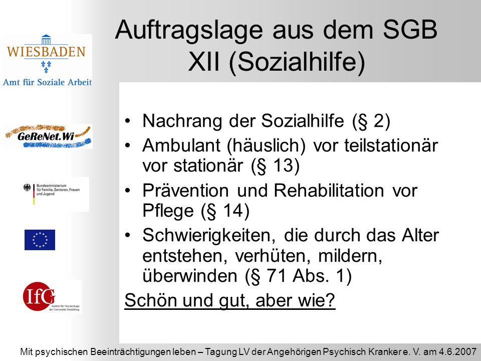Auftragslage aus dem SGB XII (Sozialhilfe)