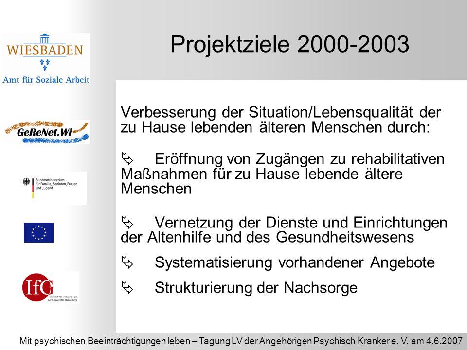 Projektziele 2000-2003 Verbesserung der Situation/Lebensqualität der zu Hause lebenden älteren Menschen durch: