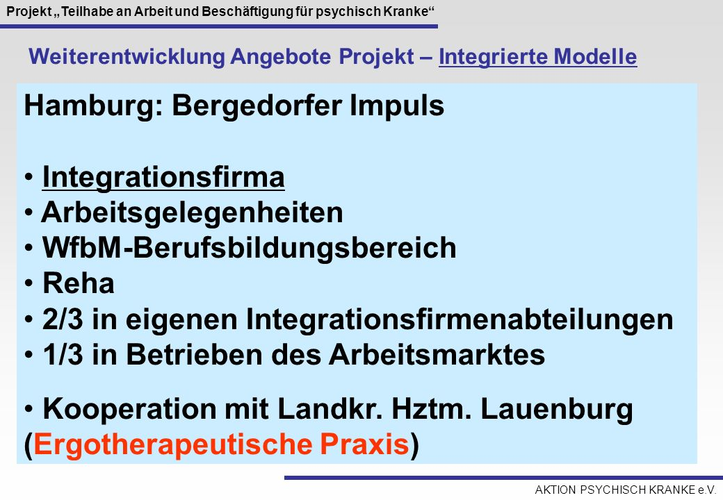 Hamburg: Bergedorfer Impuls Integrationsfirma Arbeitsgelegenheiten