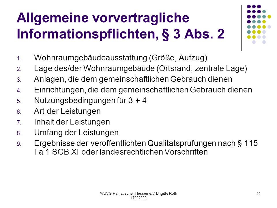 Allgemeine vorvertragliche Informationspflichten, § 3 Abs. 2