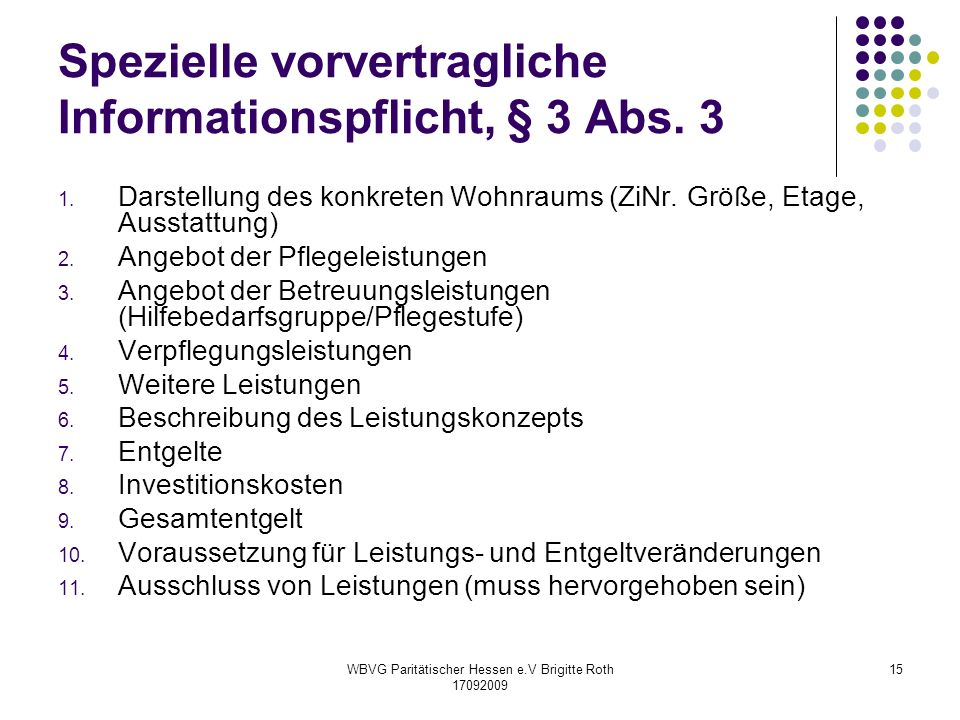 Spezielle vorvertragliche Informationspflicht, § 3 Abs. 3