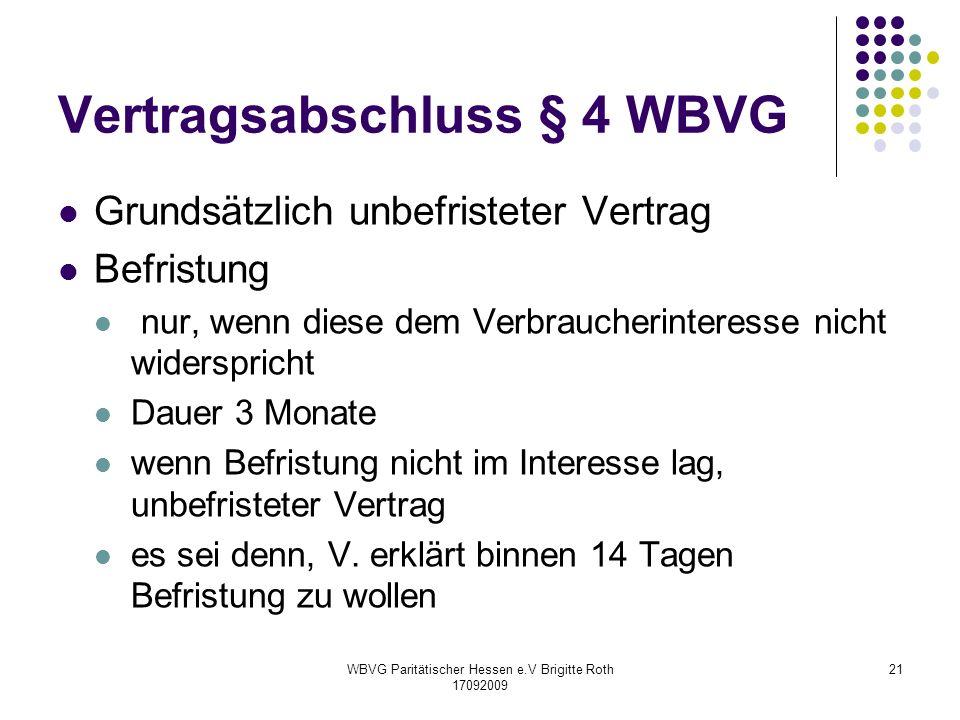 Vertragsabschluss § 4 WBVG