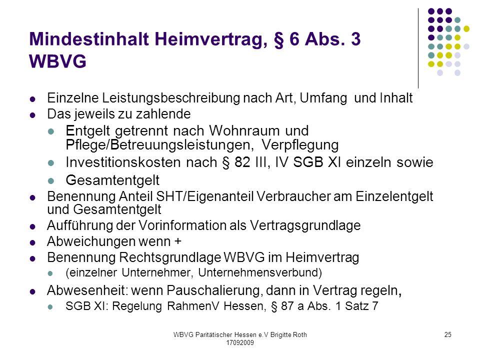 Mindestinhalt Heimvertrag, § 6 Abs. 3 WBVG