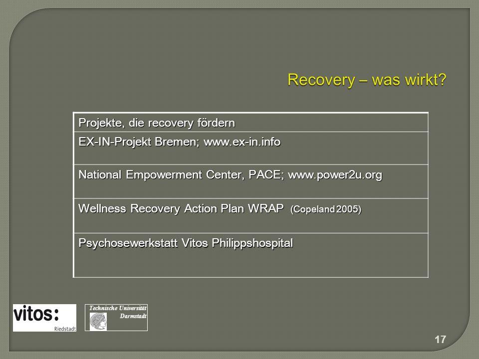 Recovery – was wirkt Projekte, die recovery fördern
