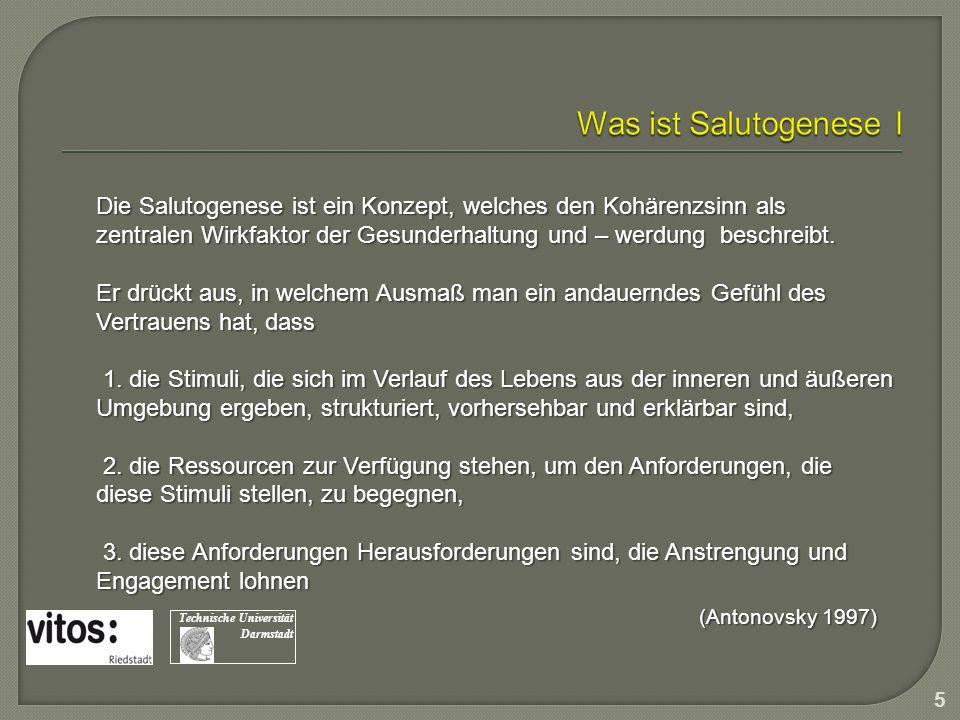 Was ist Salutogenese I Die Salutogenese ist ein Konzept, welches den Kohärenzsinn als.