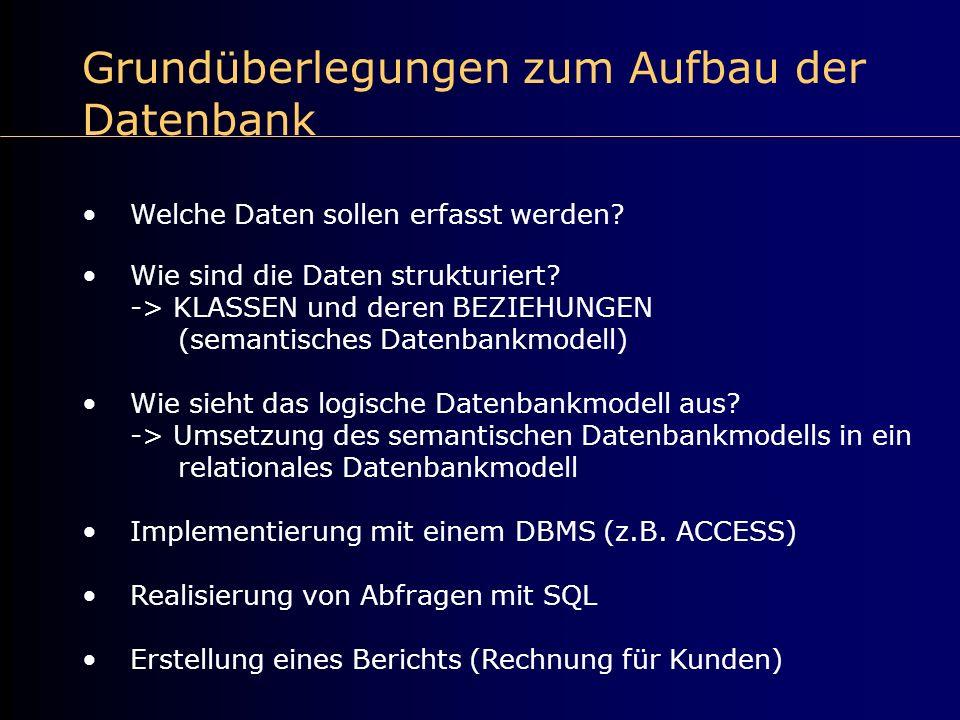 Grundüberlegungen zum Aufbau der Datenbank