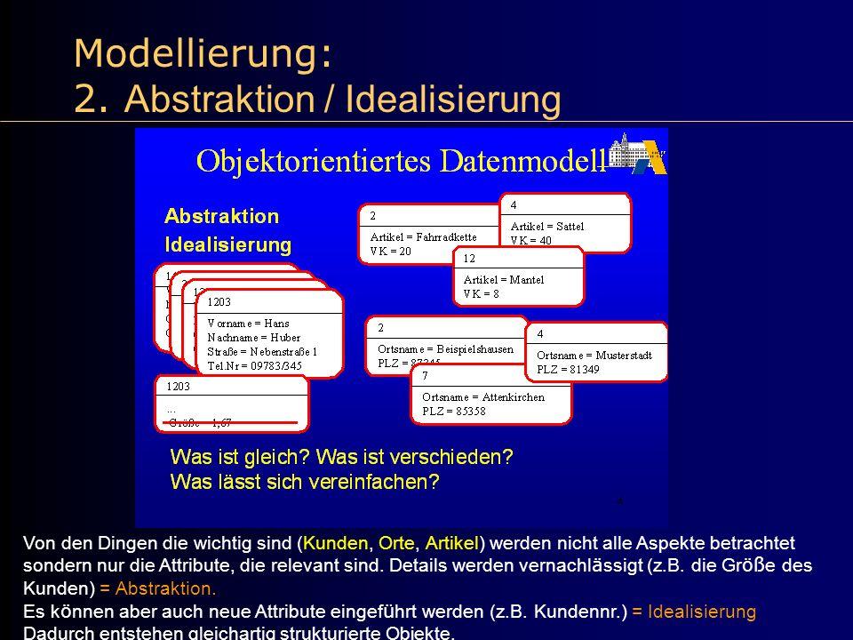Modellierung: 2. Abstraktion / Idealisierung