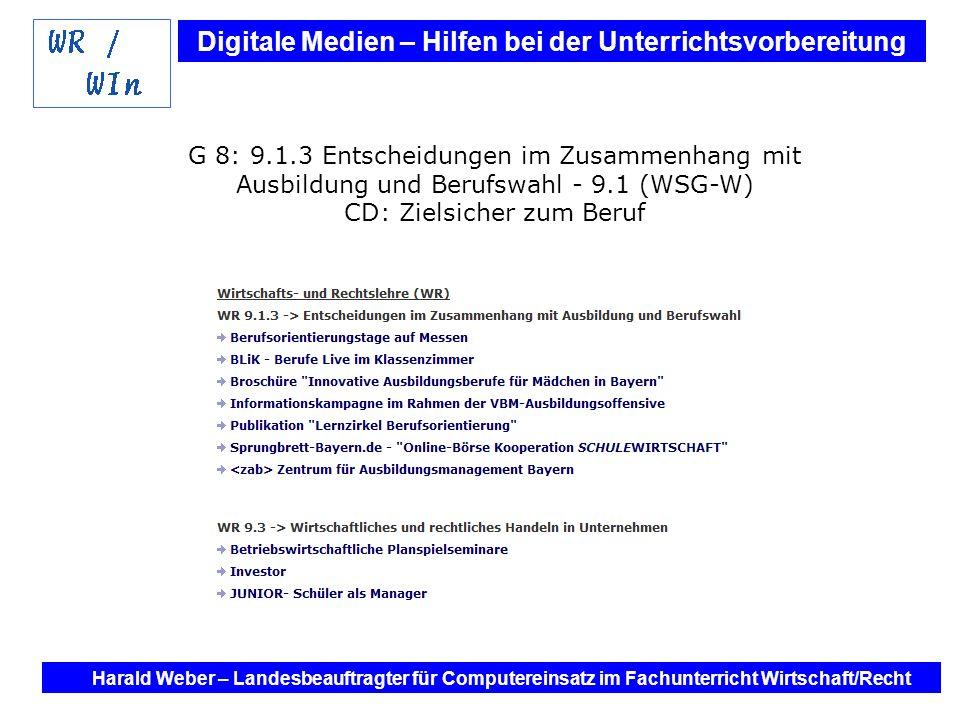 G 8: 9.1.3 Entscheidungen im Zusammenhang mit Ausbildung und Berufswahl - 9.1 (WSG-W) CD: Zielsicher zum Beruf