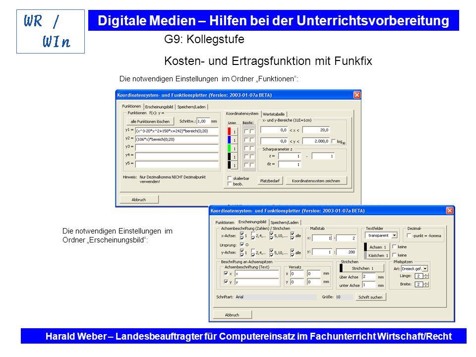 Kosten- und Ertragsfunktion mit Funkfix