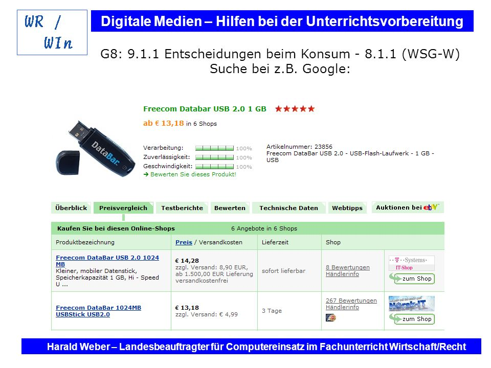 G8: 9.1.1 Entscheidungen beim Konsum - 8.1.1 (WSG-W) Suche bei z.B. Google: