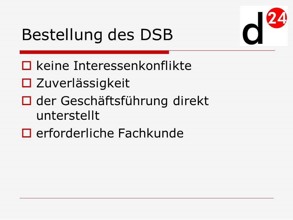 Bestellung des DSB keine Interessenkonflikte Zuverlässigkeit