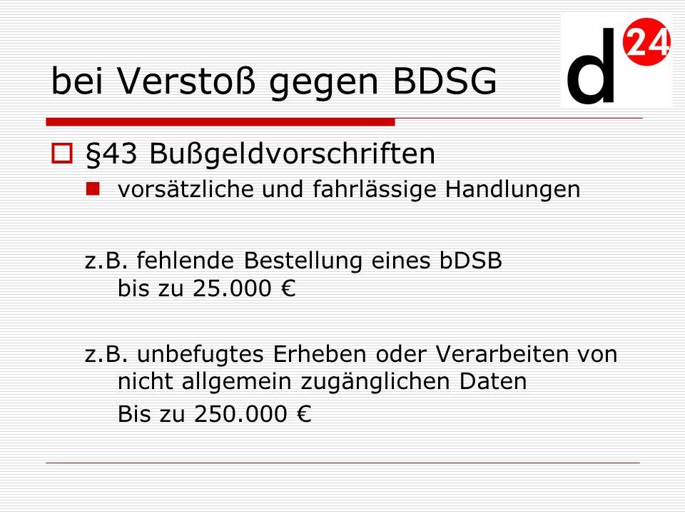 bei Verstoß gegen BDSG §43 Bußgeldvorschriften