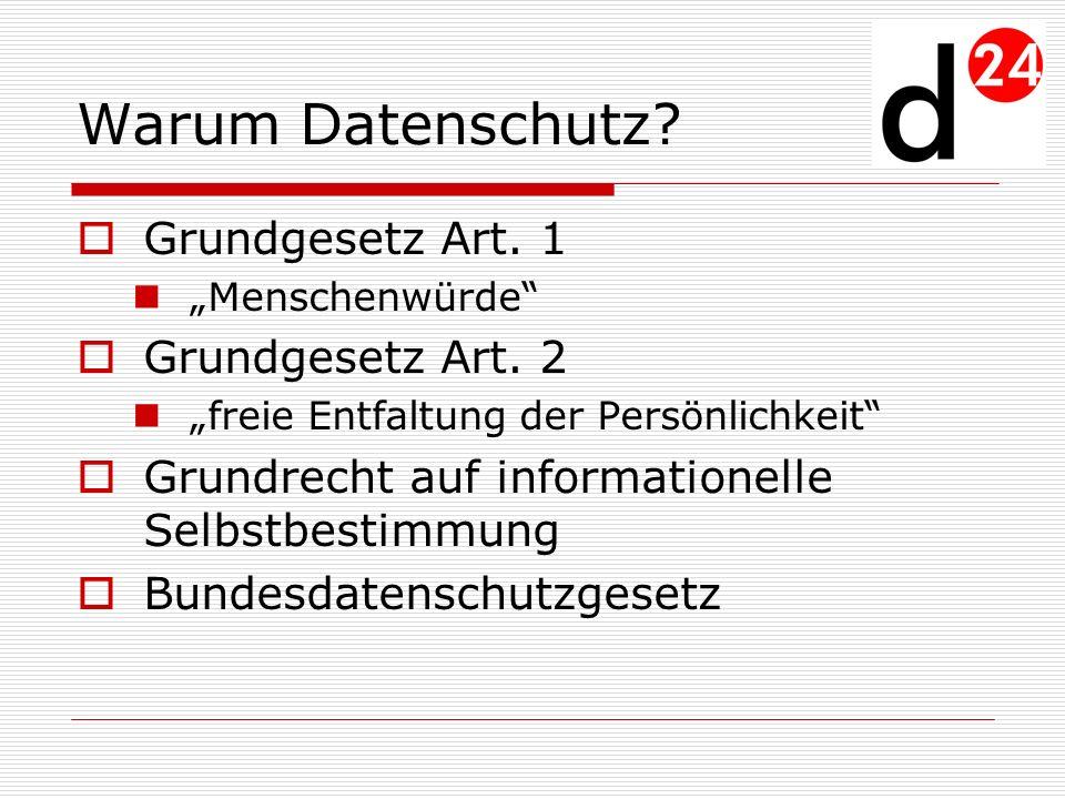 Warum Datenschutz Grundgesetz Art. 1 Grundgesetz Art. 2