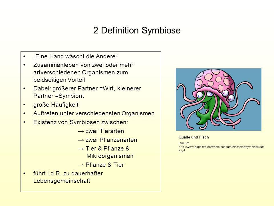 """2 Definition Symbiose """"Eine Hand wäscht die Andere"""