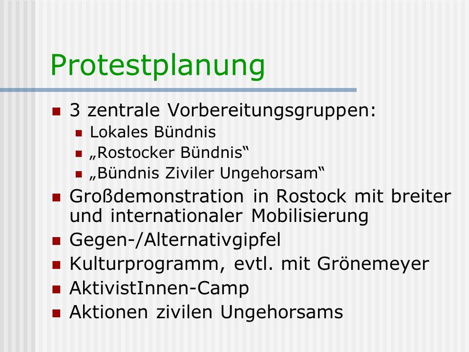 Protestplanung 3 zentrale Vorbereitungsgruppen: