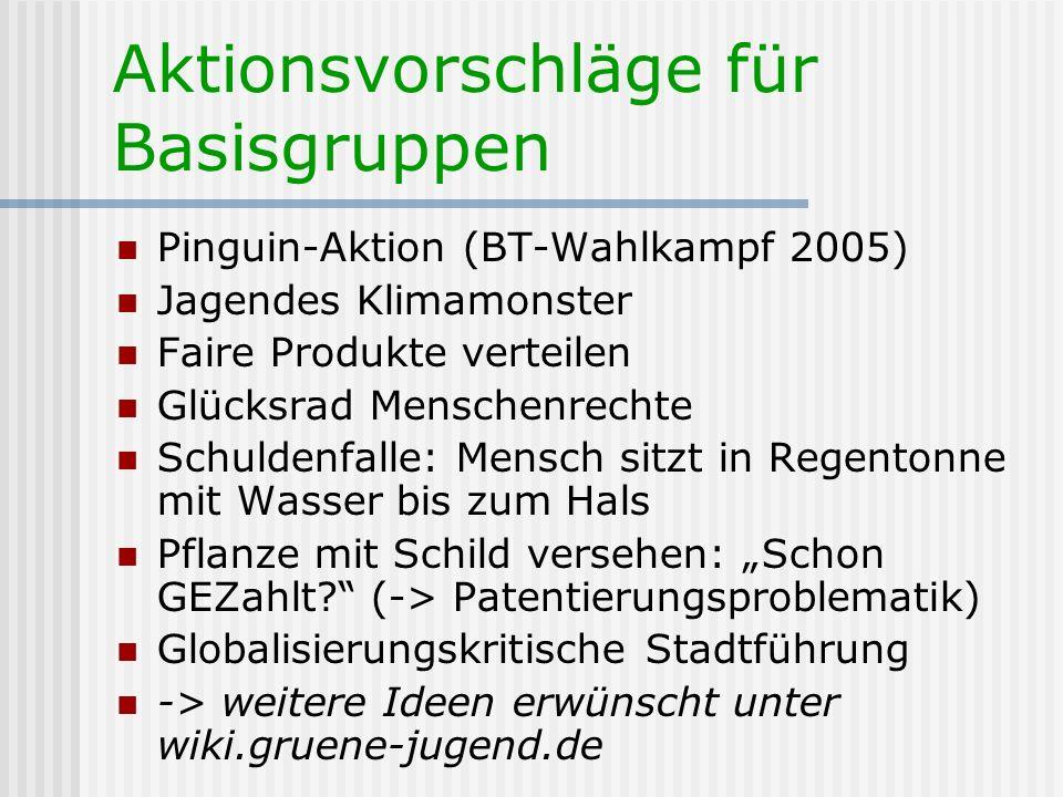 Aktionsvorschläge für Basisgruppen