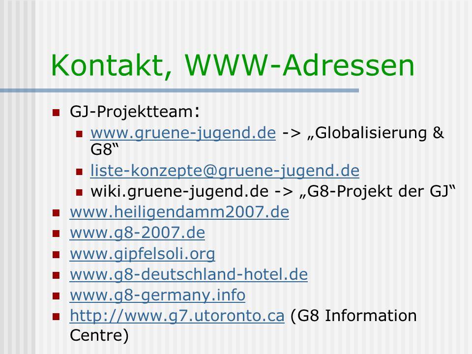 Kontakt, WWW-Adressen GJ-Projektteam: