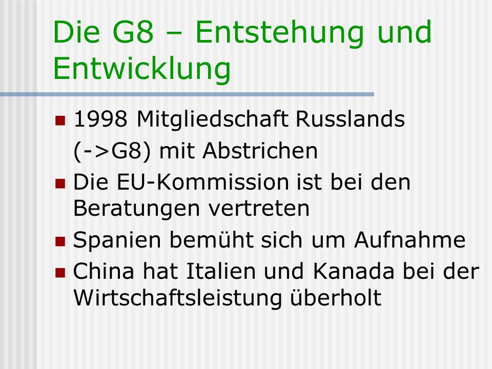 Die G8 – Entstehung und Entwicklung
