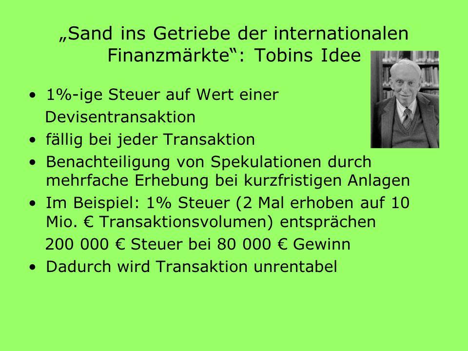 """""""Sand ins Getriebe der internationalen Finanzmärkte : Tobins Idee"""