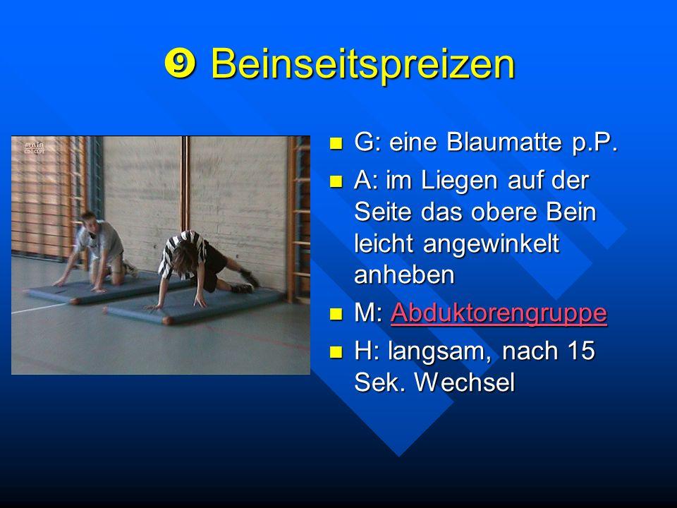  Beinseitspreizen G: eine Blaumatte p.P.