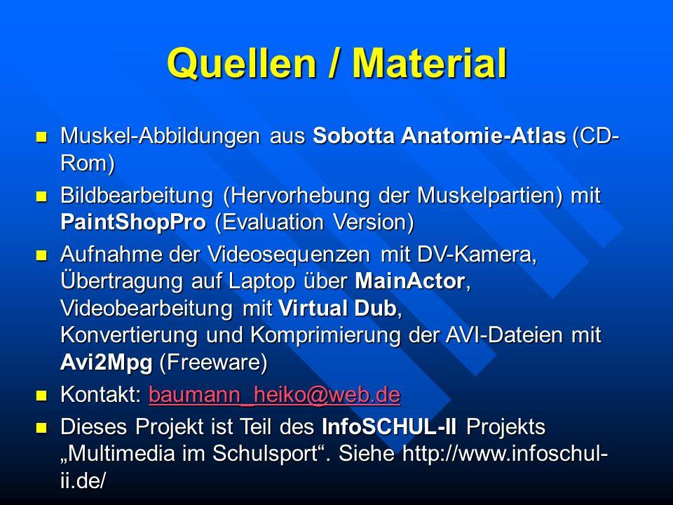 Quellen / Material Muskel-Abbildungen aus Sobotta Anatomie-Atlas (CD-Rom)