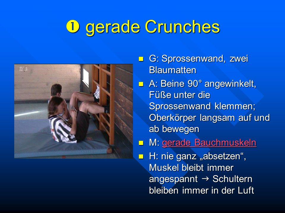  gerade Crunches G: Sprossenwand, zwei Blaumatten